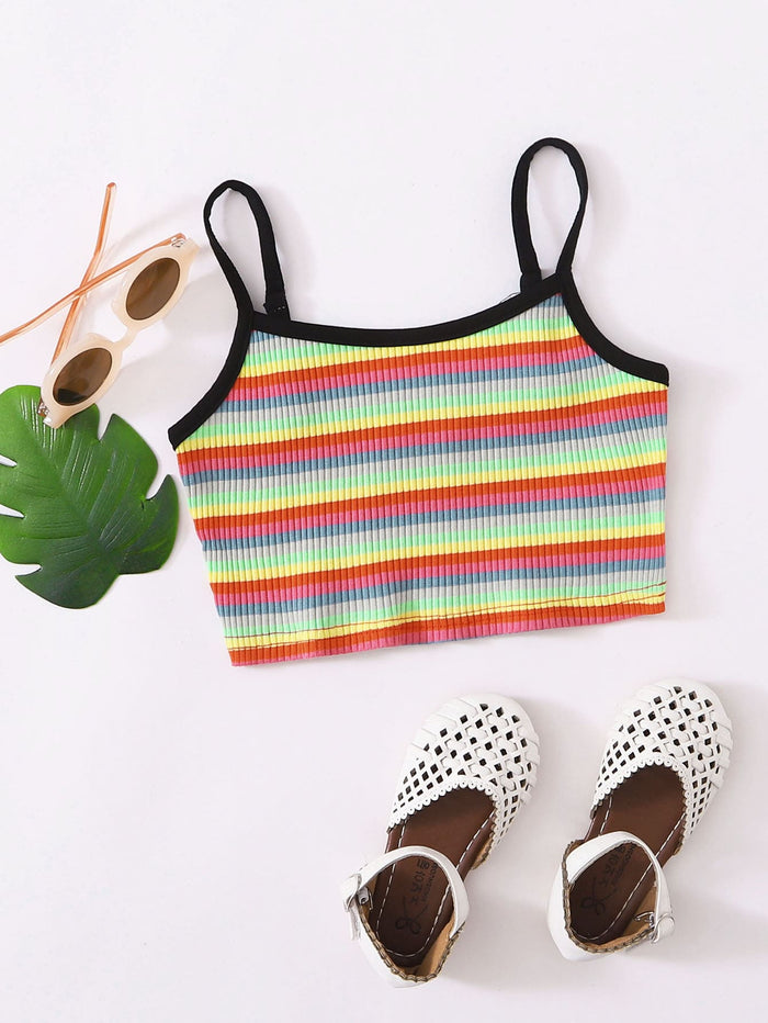 Girls Rib-knit Rainbow Striped Ringer Cami Top Multicolor