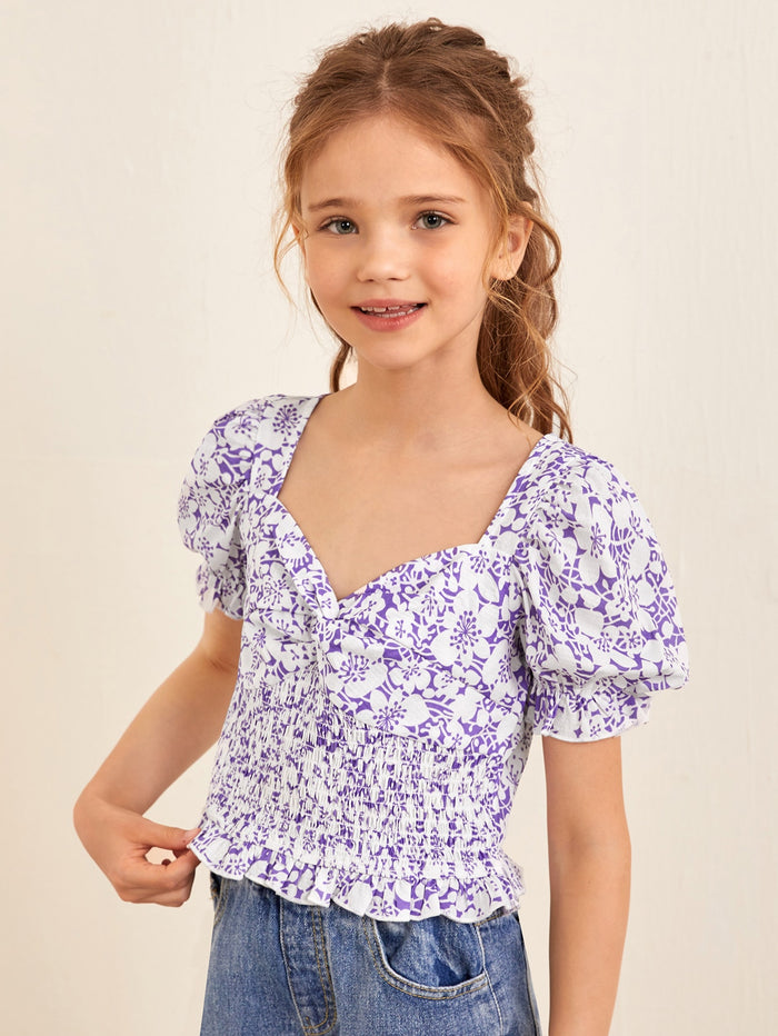 Girls Sweetheart Neck Twist Front Shirred Panel Frill Trim Floral Top Multicolor