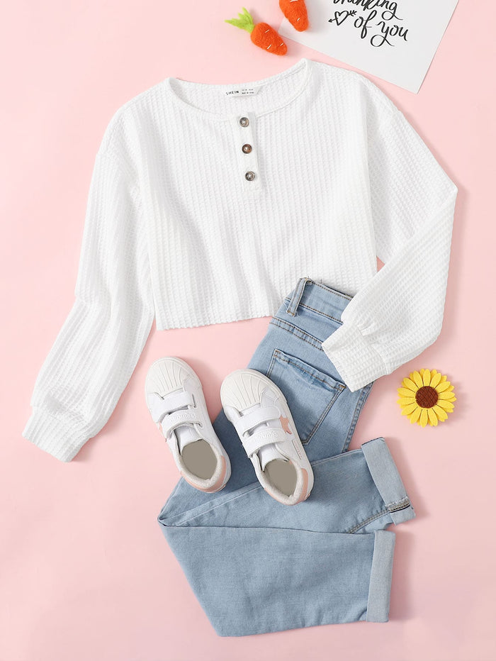 Girls Waffle Knit Henley Tee White