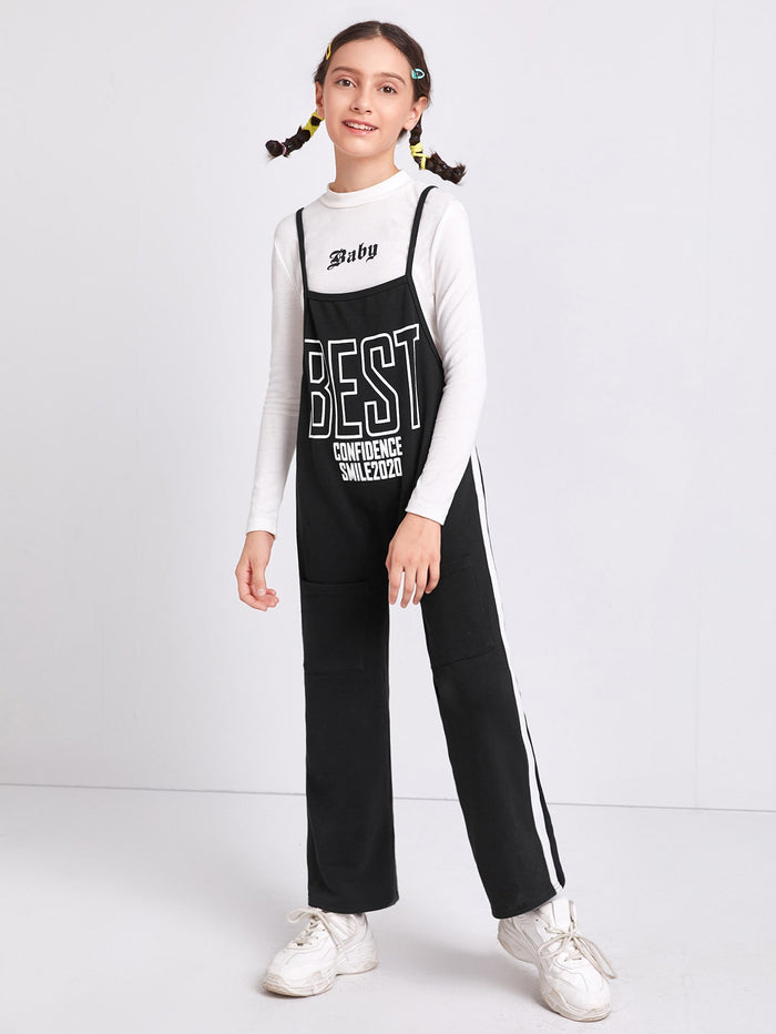 Girls Slogan Graphic Contrast Sideseam Overalls