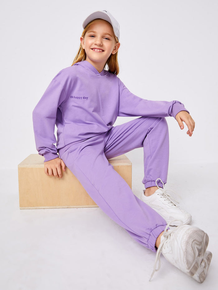 Girls Slogan Embroidered Hoodie & Joggers Set Lilac Purple