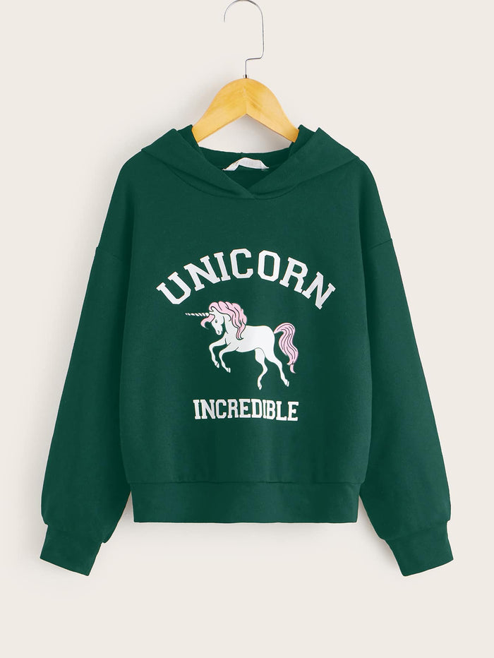 Girls Unicorn & Letter Graphic Hoodie