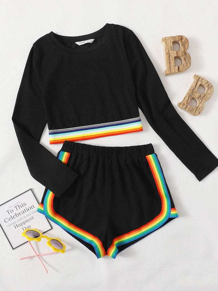 Girls Rainbow Striped Hem Top & Dolphin Shorts Set