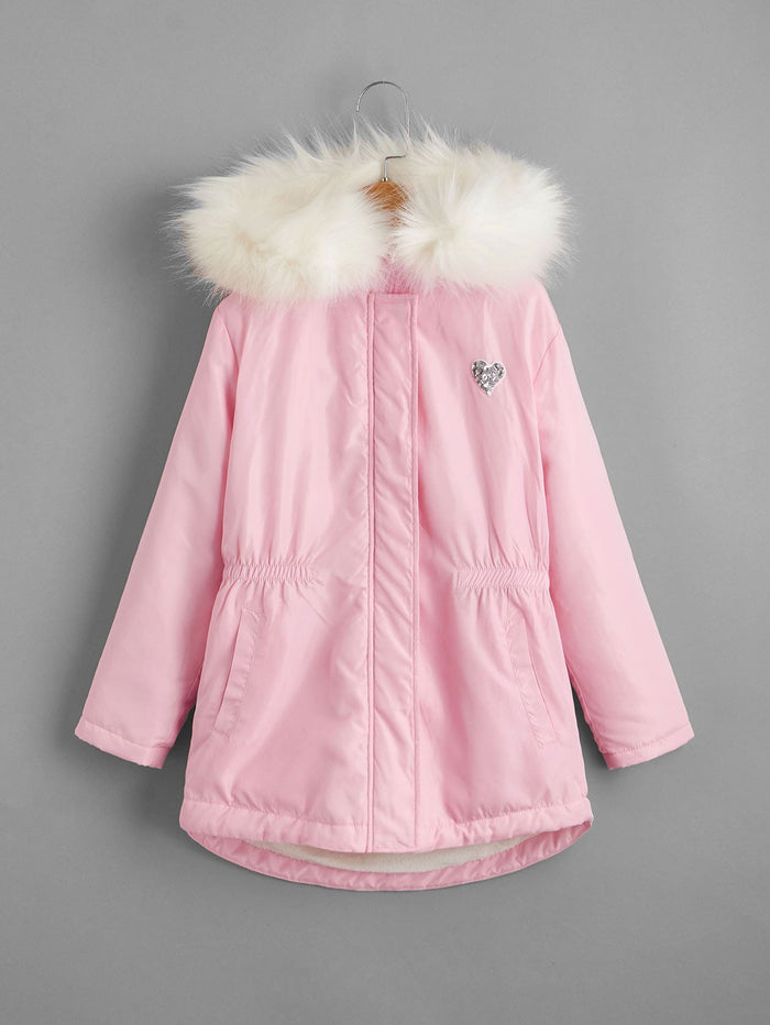 Girls Patched Detail Parka Coat