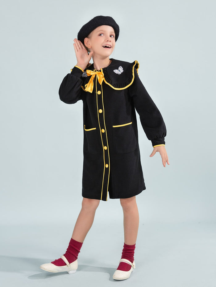 Girls Peter Pan Collar Contrast Binding Coat