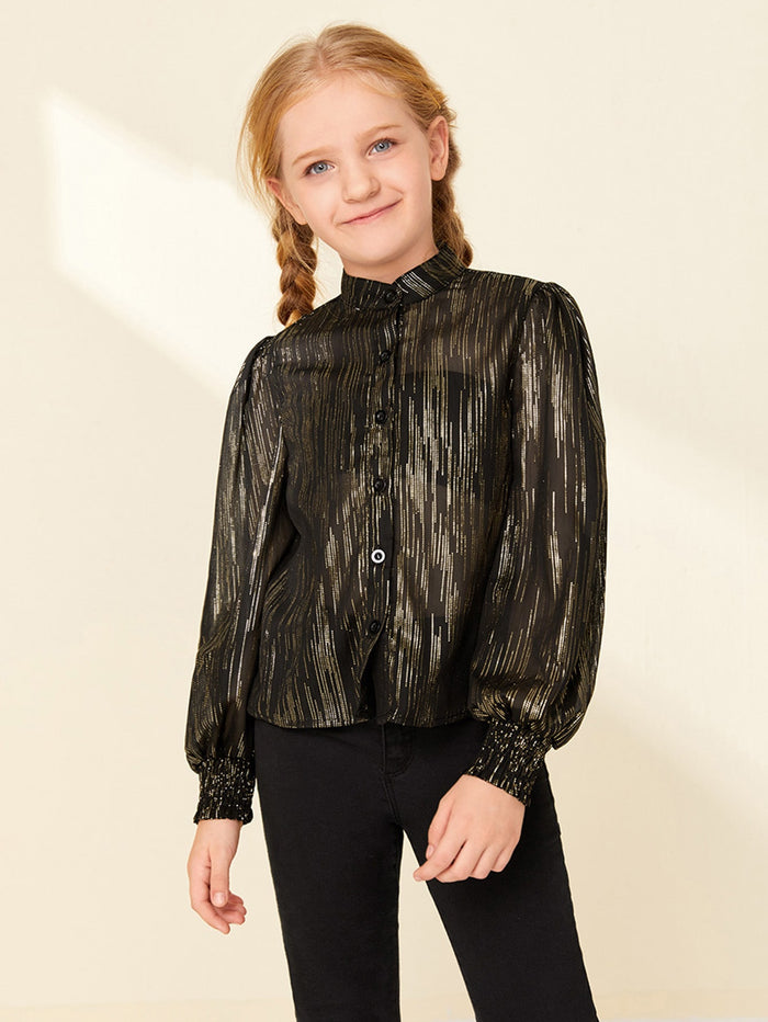 Girls Lantern Sleeve Glitter Chiffon Semi Sheer Blouse