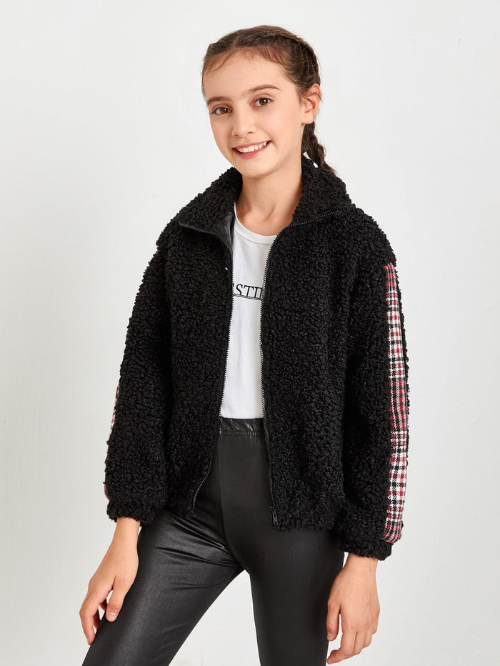 Girls Zip Up Plaid Sideseam Teddy Jacket