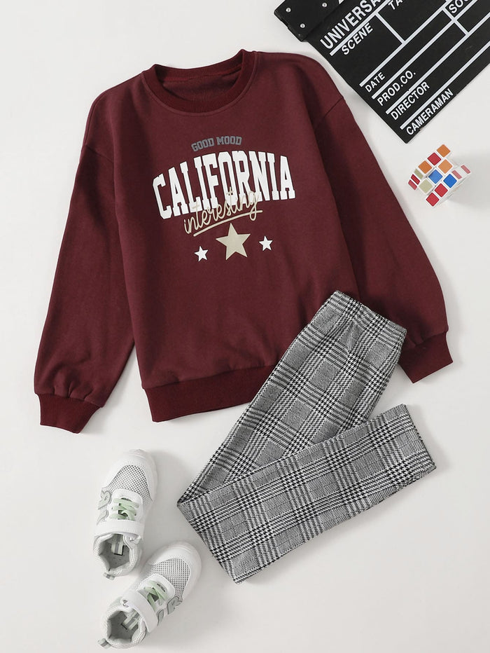 Girls Letter Graphic Thermal Pullover & Plaid Leggings Set