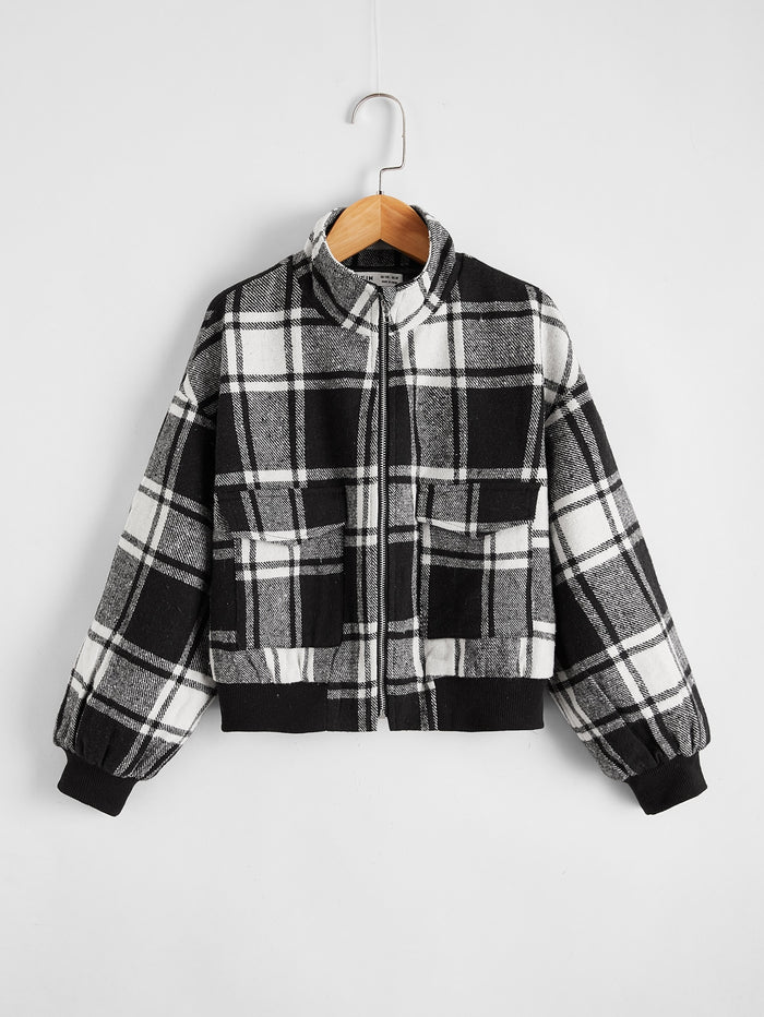 Girls Plaid Drop Shoulder Zip Up Jacket