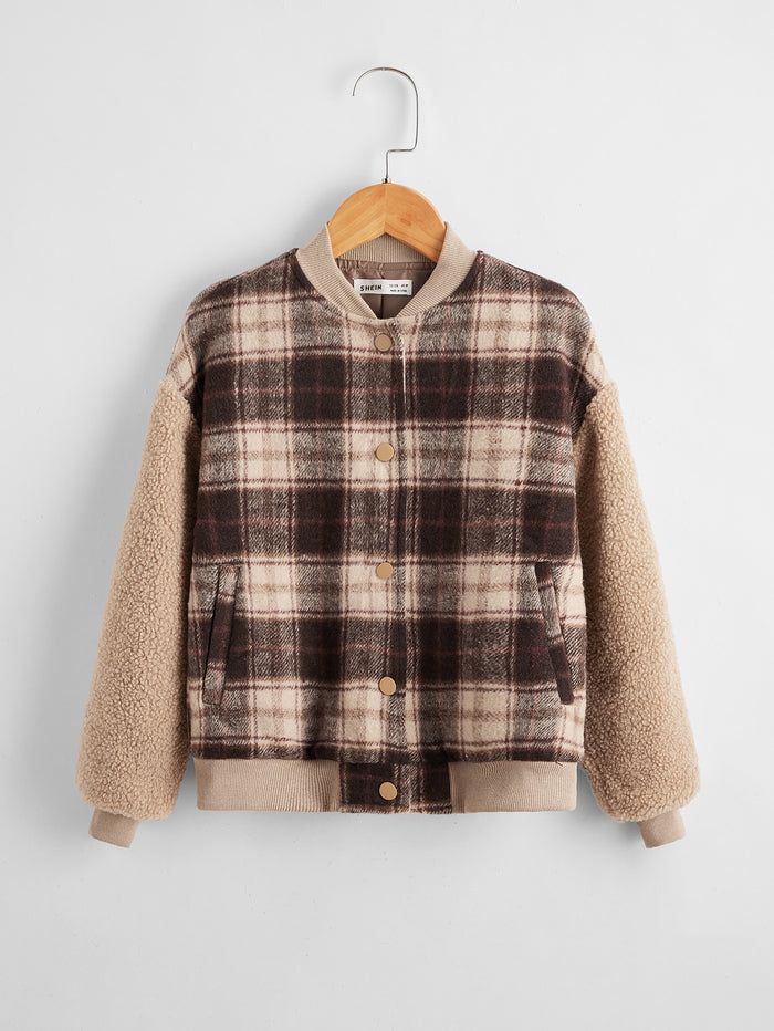 Girls Buttoned Front Teddy Sleeve Plaid Jacket