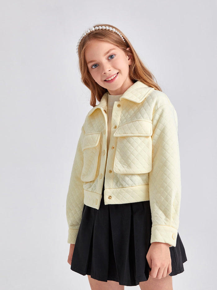 Girls Flap Pocket Quilted Solid Jacket