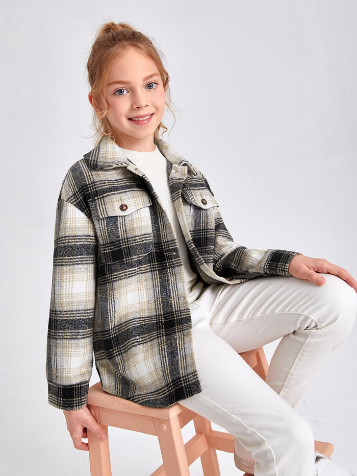 Girls Flap Pocket Plaid Coat