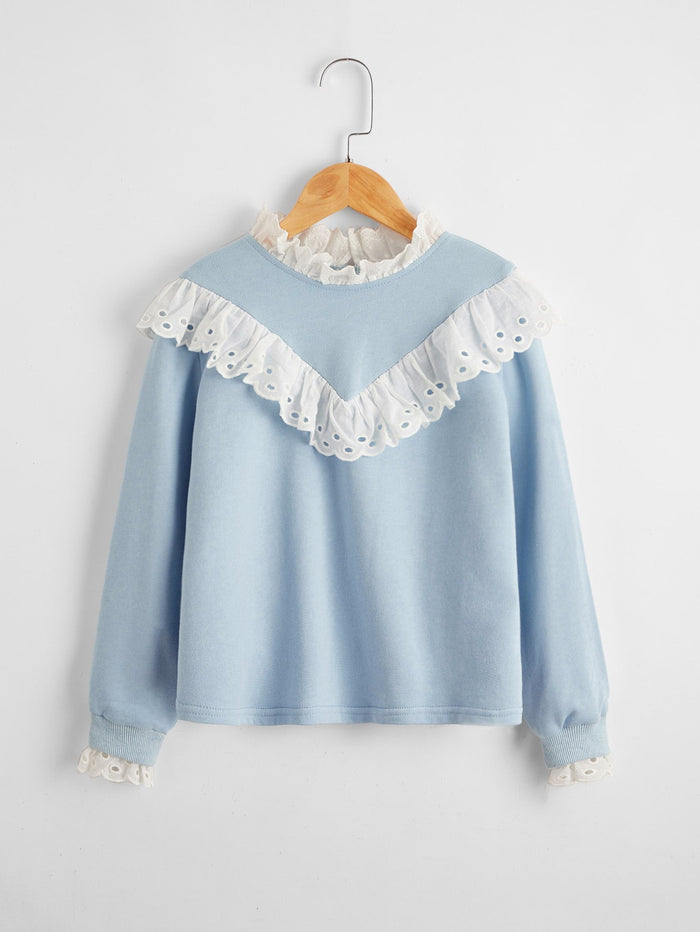 Girls Contrast Schiffy Ruffle Detail Pullover