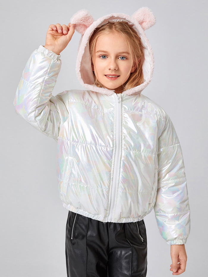 Girls Zip Up 3D Ear Design Hooded Holographic Puffer Jacket