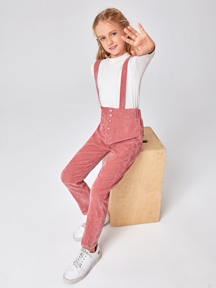 Girls Button Fly Cord Suspender Overall Jumpsuit