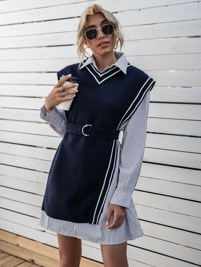 Striped Belted Vest With Shirt Dress Multicolor