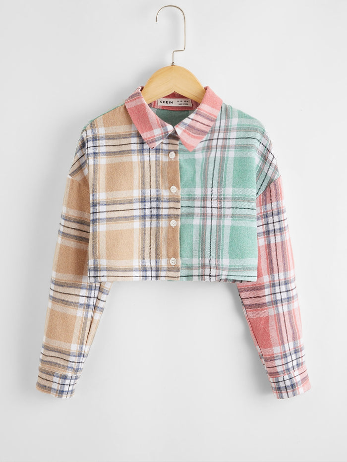 Girls Drop Shoulder Plaid Colorblock Blouse