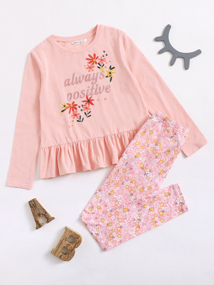 Girls Letter and Floral Print Peplum Tee and Leggings Set