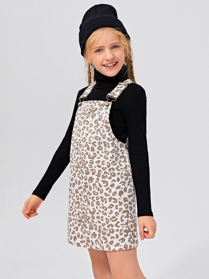 Girls High Neck Tee and Leopard Overall Dress Set