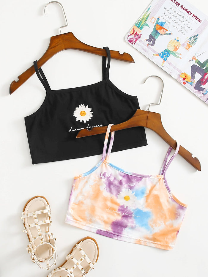 Girls 2pack Daisy and Letter Graphic Cami Top