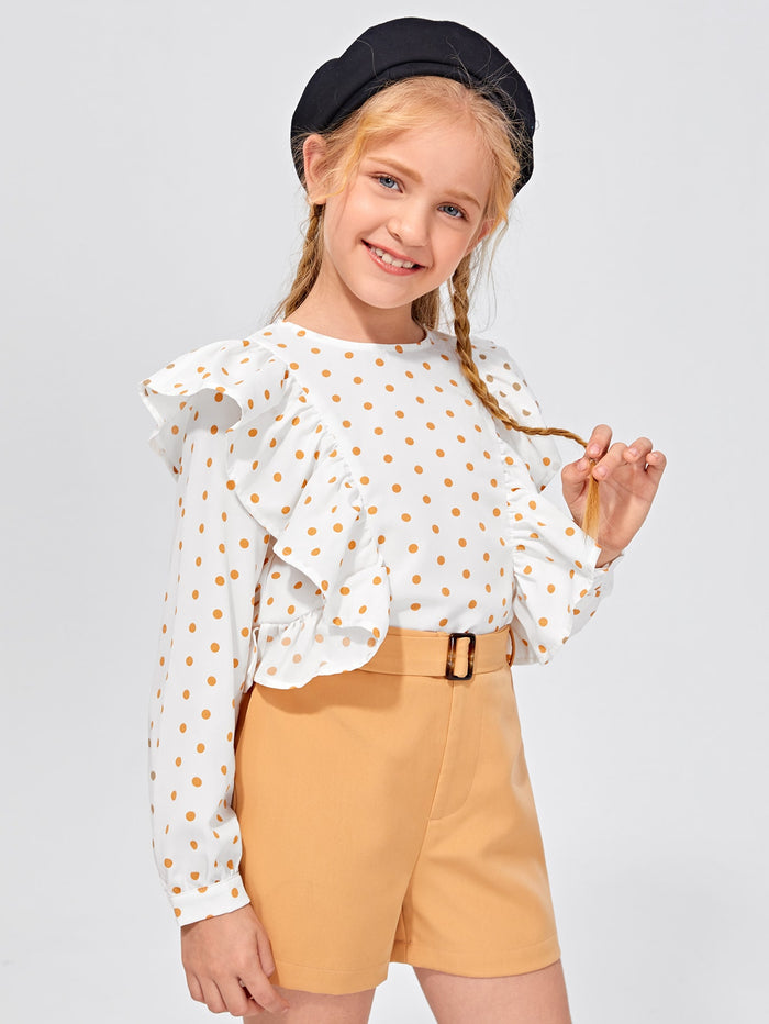 Girls Polka Dot Ruffle Trim Top