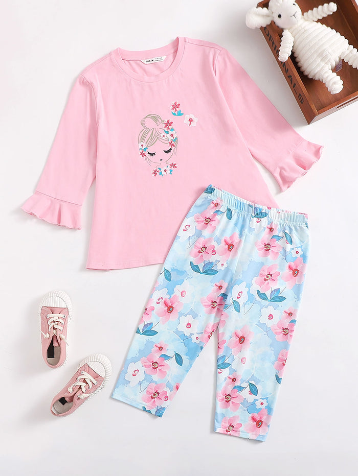 Girls Girls and Floral Flounce Sleeve Tee and Leggings Set