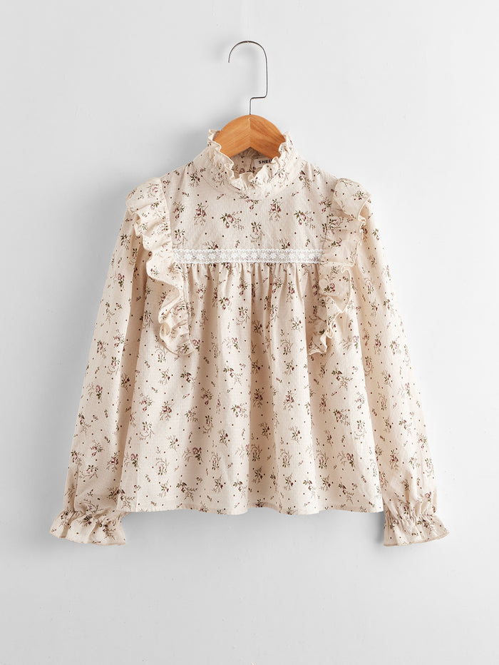 Girls Embroidered Mesh Panel Ruffle Trim Floral Top