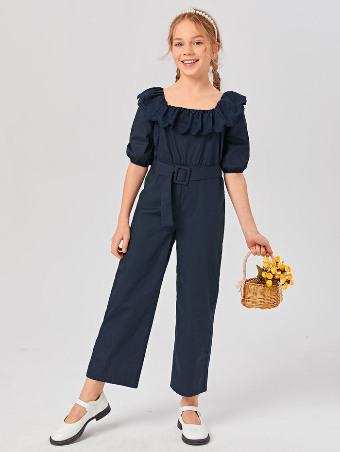 Girls Puff Sleeve Eyelet Embroidered Trim Belted Jumpsuit