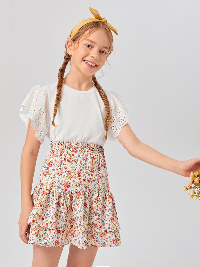 Girls Eyelet Embroidered Ruffle Cuff Top & Layered Ruffle Hem Ditsy Floral Skirt Set