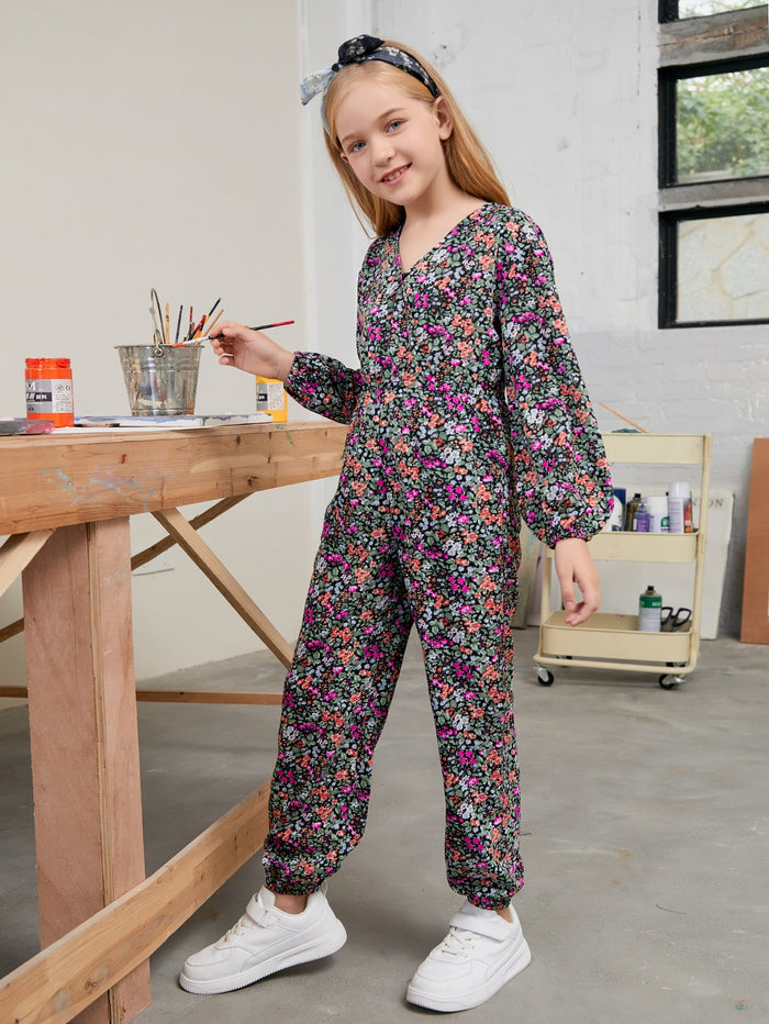 Girls Surplice Neck Lantern Sleeve Jumpsuit