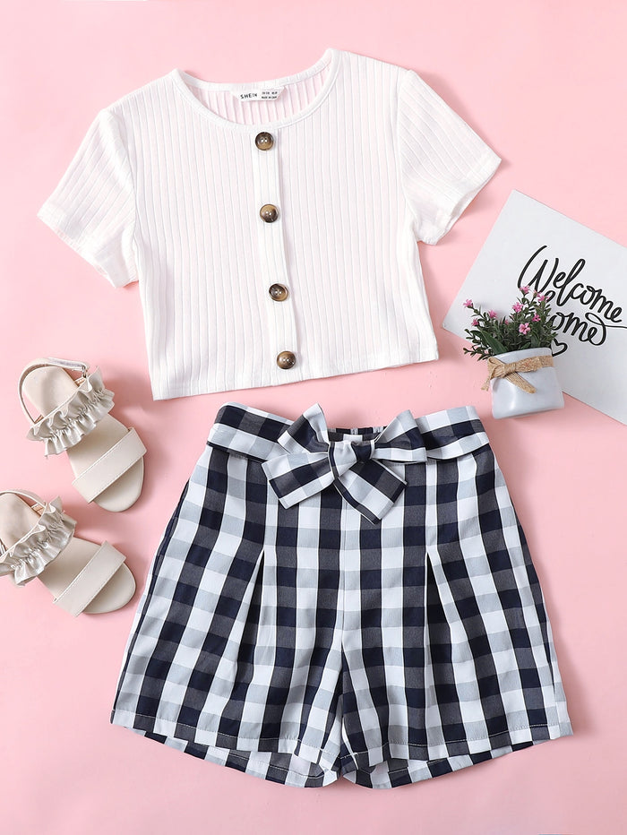 Girls Button Up Ribbed Tee & Belted Gingham Shorts Set Blue and White