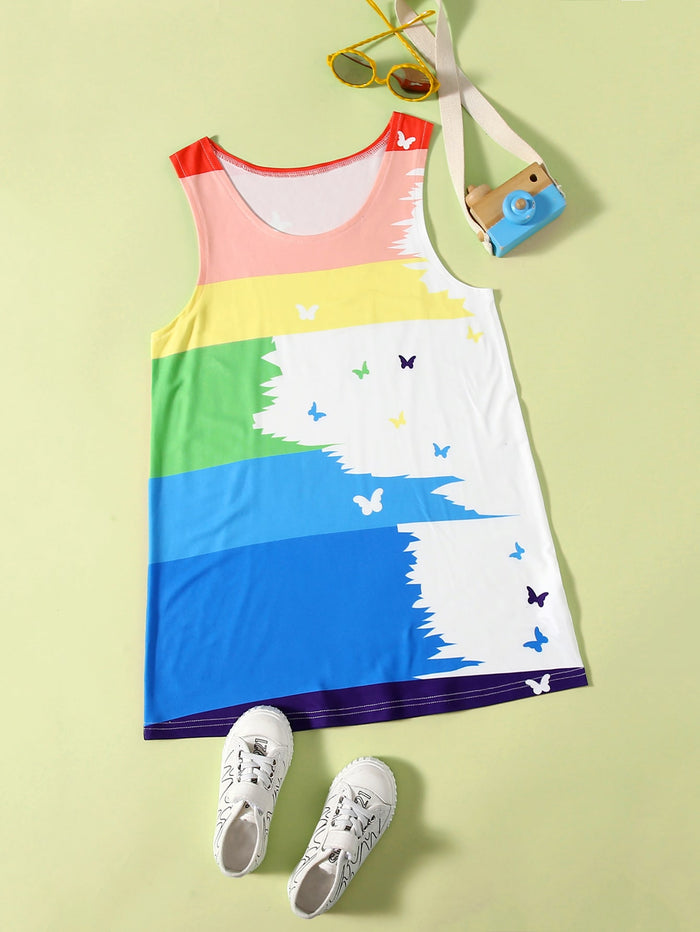 Girls Color-block Butterfly Print Tank Top