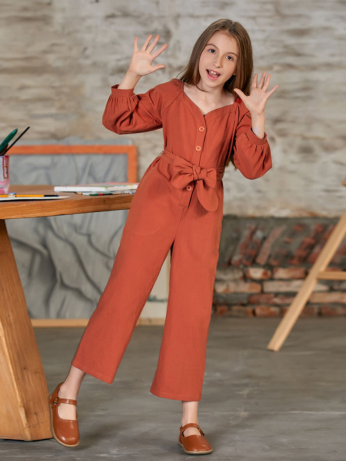 Girls Lantern Sleeve Belted Palazzo Jumpsuit