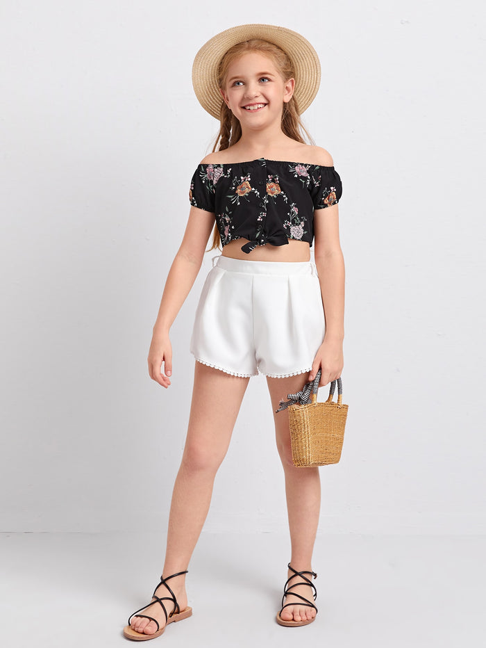 Girls Off Shoulder Knot Hem Floral Blouse