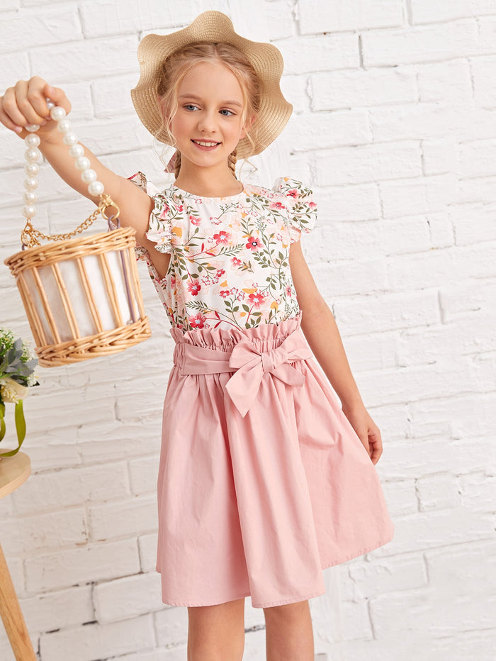 Girls Botanical Print Top & Paperbag Waist Skirt Set