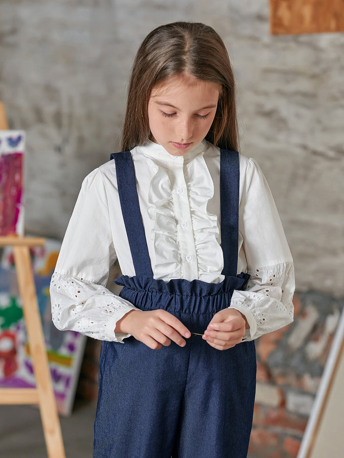 Girls Eyelet Embroidered Sleeve Ruffle Trim Blouse