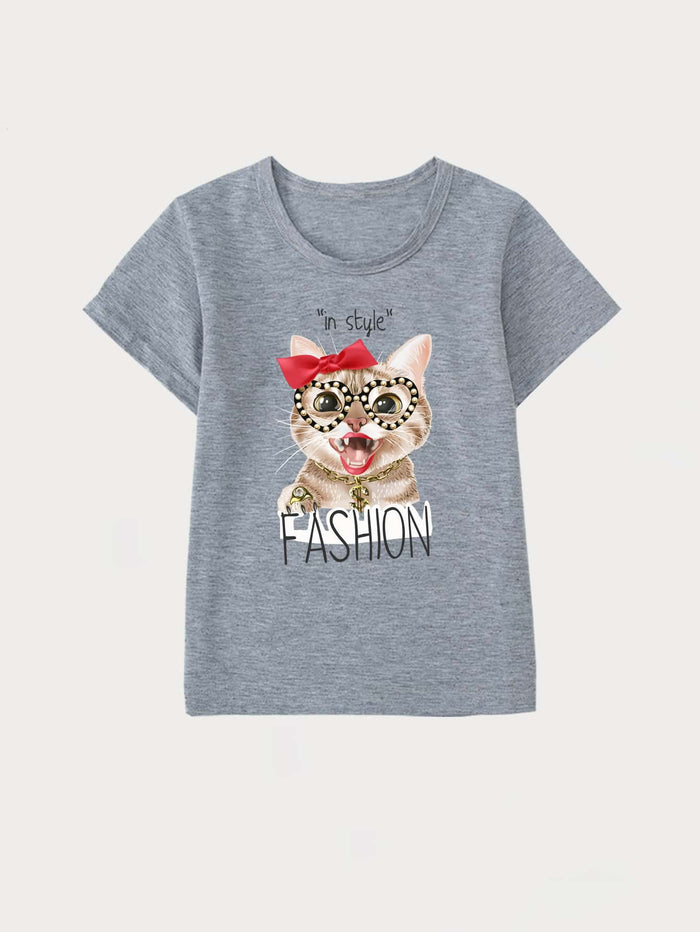 Girls Letter & Cartoon Graphic Tee