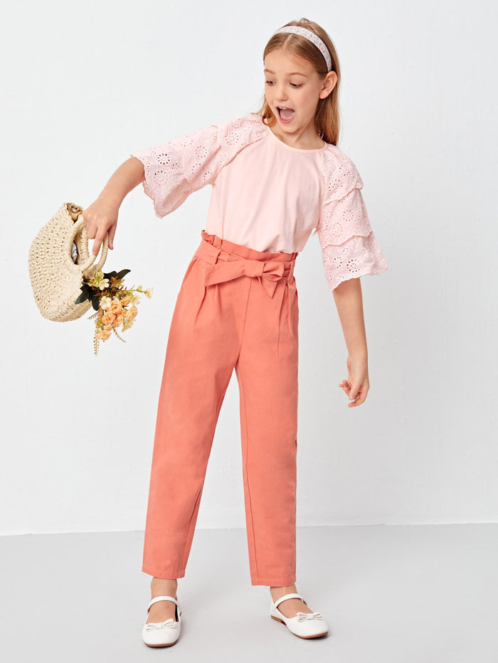 Girls Eyelet Embroidered Layered Sleeve Top & Paperbag Waist Belted Pants Set