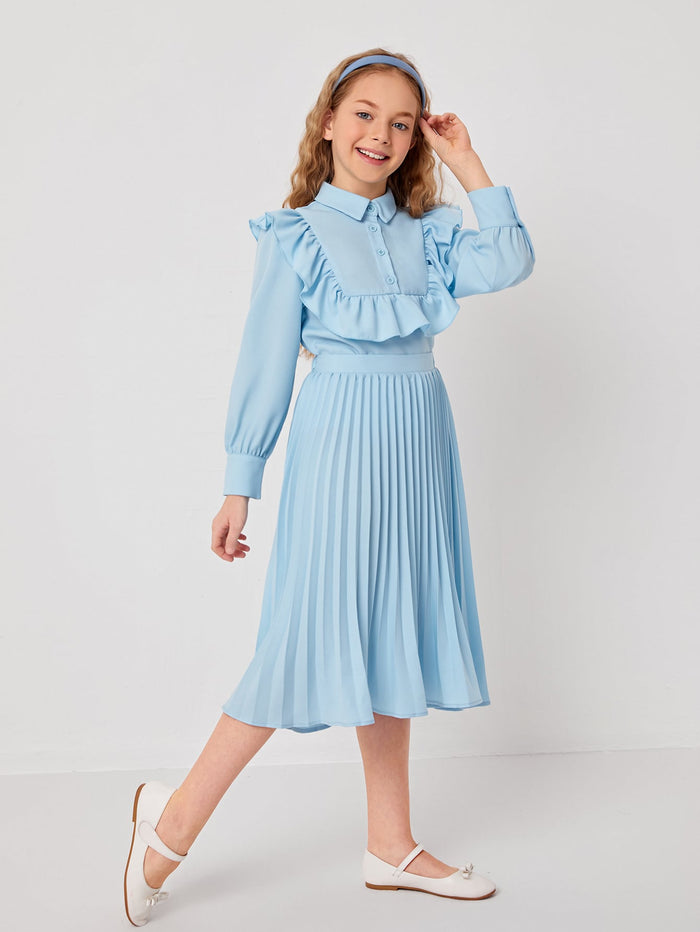 Girls Ruffle Trim Blouse & Pleated Skirt Set