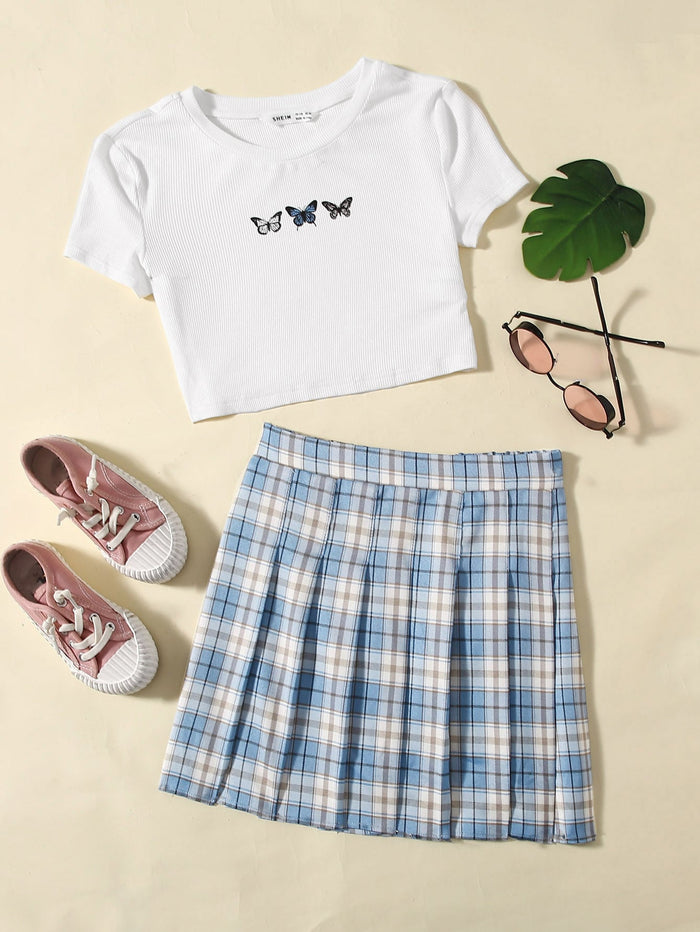 Girls Butterfly Print Rib-knit Crop Top & Tartan Pleated Skirt Set
