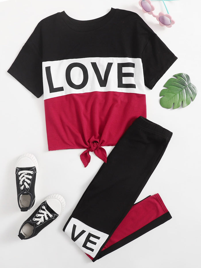 Girls Letter Graphic Tie Hem Tee and Leggings Set