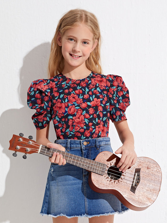 Girls Floral Puff Sleeve Top