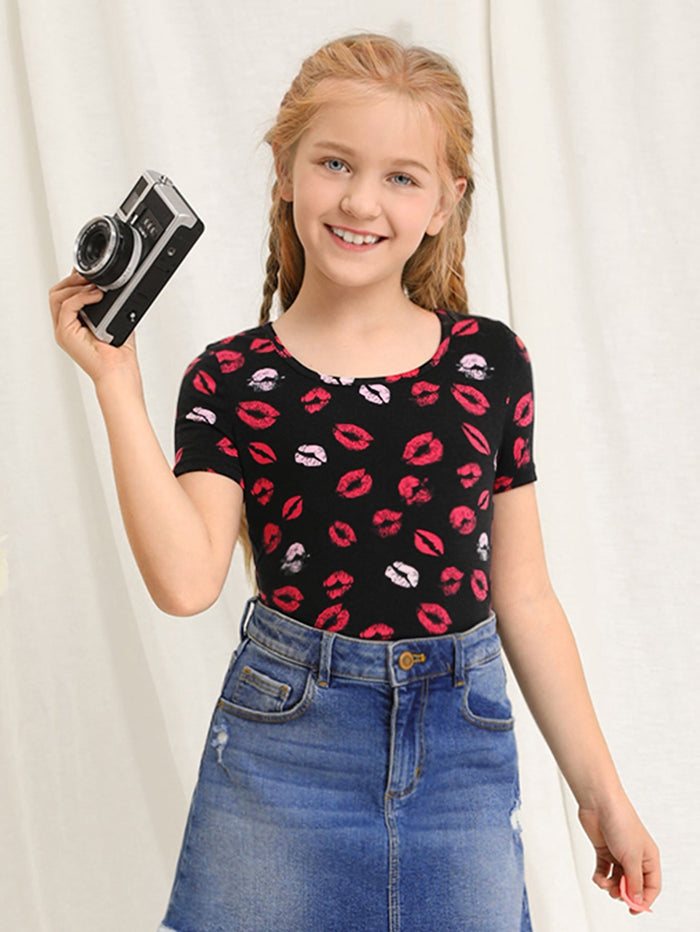 Girls 1pc Lip Print Tee