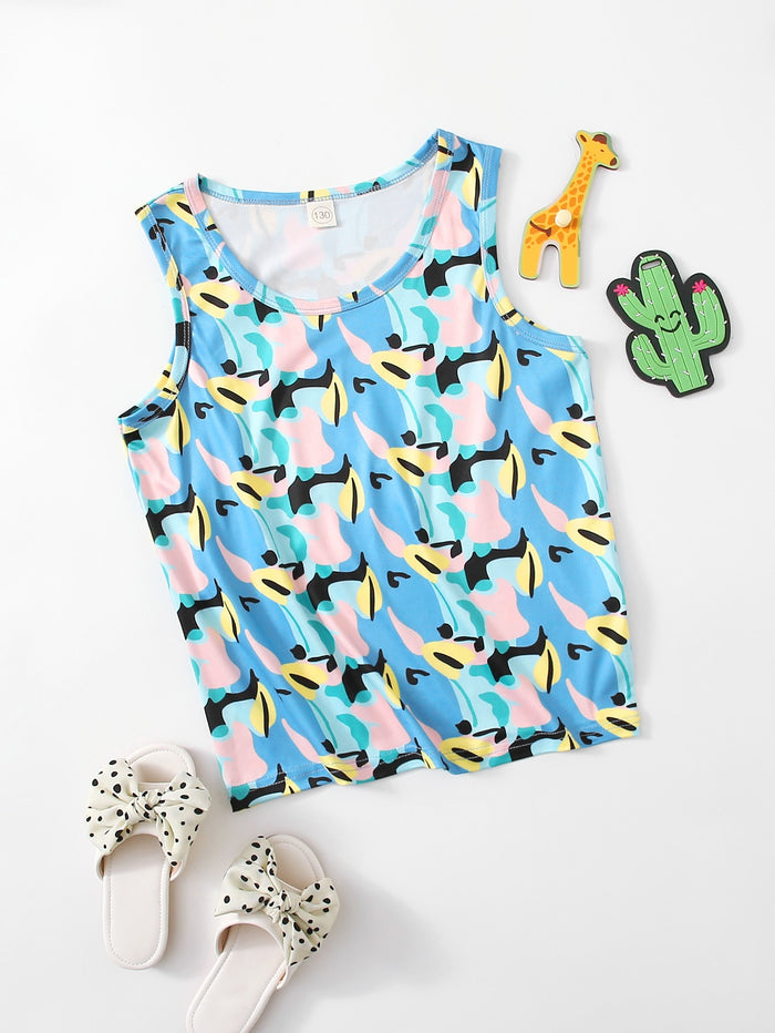 Girls Allover Print Tank Top