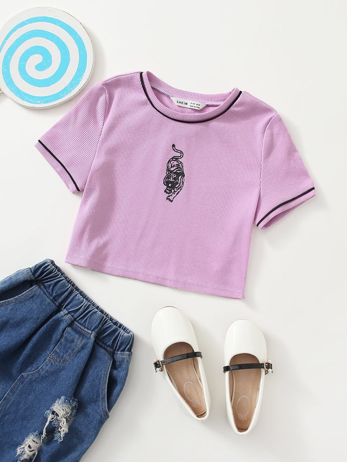Girls Contrast Piping Tiger Print Top