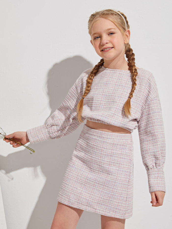 Girls Drop Shoulder Tweed Crop Top & Skirt Set