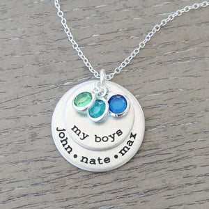 My Boys Necklace with Birthstones