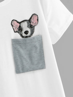 Women Tees - Cut And Sew Panel Dog Print Tee