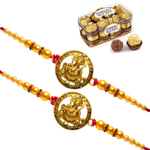 2 Rakhi - Ganeshji Rakhi With 16 Pcs Ferrero Rocher Chocolate Box