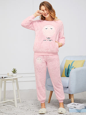 Pajama - Owl & Letter Embroidered Plush Pajama Set